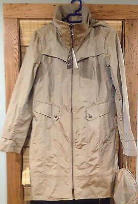 NWT COLE HAAN Packable Topaz Tan Trench Raincoat Jacket w Hood Travel Bag Small