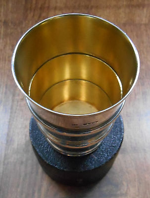 Fine Victorian solid silver collapsible spirit cup London 1856 with case