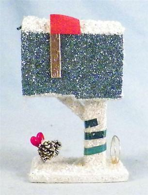 Vintage Mailbox Christmas Decoration Glitter on Cardboard Japan 1950s Neat