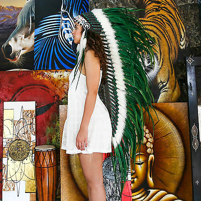 Indian Headdress/ Native American Chief Costume - 135cm Real Feather War Bonnet