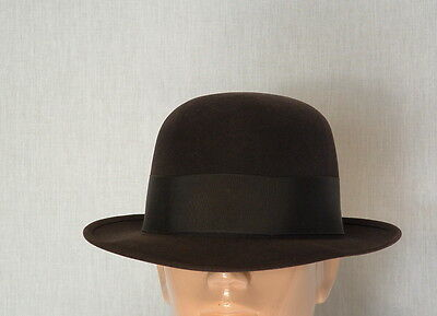 1950's, 60's STETSON BACK BOW, SELV-EDGE. CHOCOLATE BROWN 7 3/8, OPEN CROWN