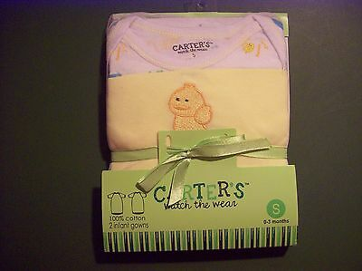 NEW Carter's 2-Pack Infant/Baby Gowns~NWT~Boy/Girl/Yellow/Duck