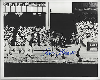 NY Giants Rosie Brown autographed  8x10  B/W photo vs Eagles at Yankee Stadium