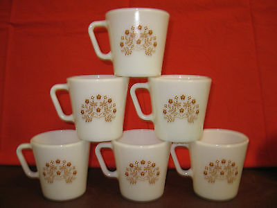 Vtg Corning Pyrex Summer Impressions Gold Floral Coffee Cup Mug Set of 6 Corelle