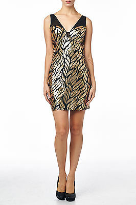 Women's Gold Sequined Sleeveless Sexy Bodycon Mini Dress (Size L)