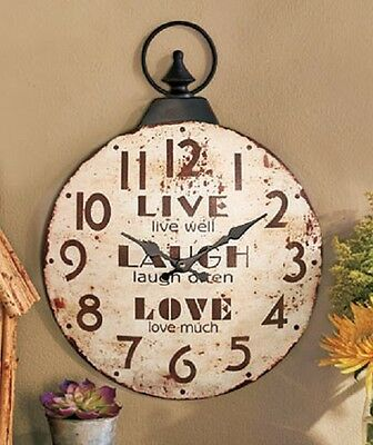 Old Fashion Metal Sentiment Wall Clock Indoor/Outdoor Country Charm Home Decor
