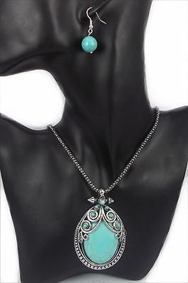 Vintage Style Tibet Silver Oval Turquoise Stone Necklace Set Christmas Gift