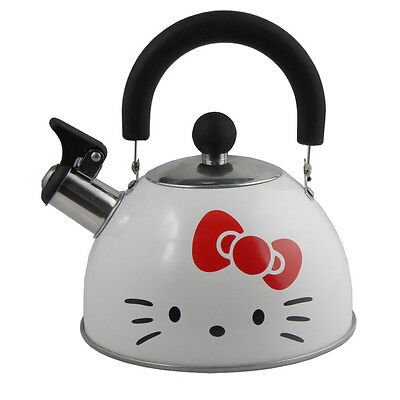 WHITE COLOR KITTY RED BOW Cookware 1.6 Liter Whistling Kettle Home Easy Use