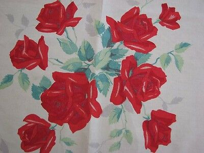 Private Collection - Sweet Vintage Red Roses Print Tablecloth