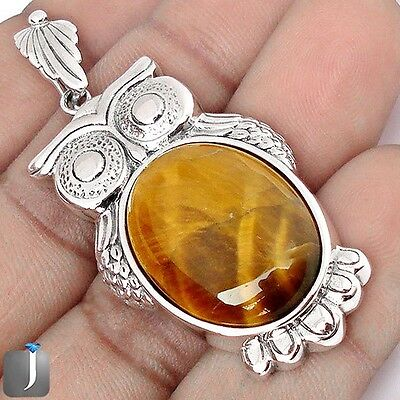 25.19cts NATURAL BROWN TIGERS EYE 925 STERLING SILVER OWL PENDANT JEWELRY F35162