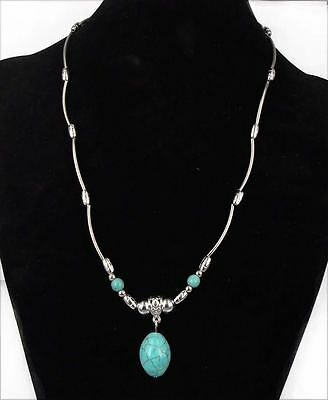 Tibet Silver Chain Flower Oval Turquoise Stone Pendant Necklace Christmas Gift