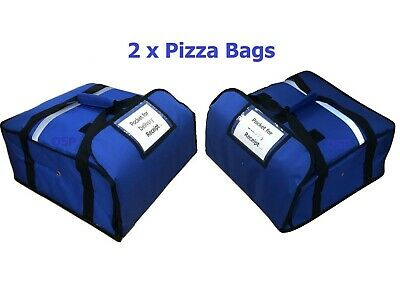 "2 QTY  PIZZA DELIVERY BAGS 20"" X 20"" X 7"" inch FULLY INSULATED KEEP PIZZA WARM"