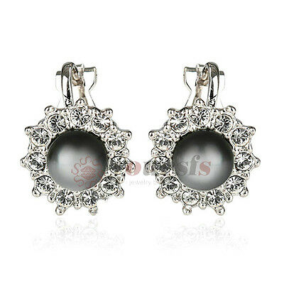18K White Gold Plated Clear Austria Crystal Black Pearl Clip-on Earrings Jewelry
