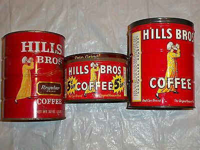 Lot Vintage 1 lb Coffee Tin Cans Hills Bros. 2 lb Red Can Brand 1 & 2 Pound Can