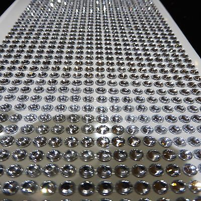 1000 Self Adhesive Stick On Diamonte Clear Crystal Silver Rhinestone Diamantes