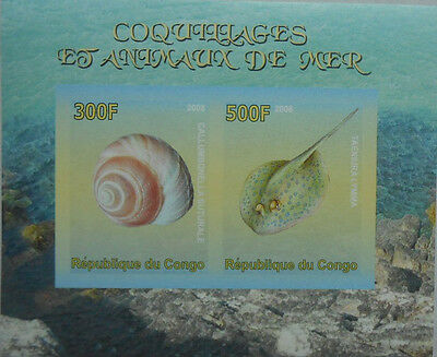 Shells & Sea Animals bluespotted ribbontail ray s/s Congo 2008 MNH IMPERF #F127