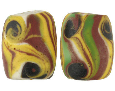 RARE OLD MATCHING PAIR OVAL BANDED Fancy VENETIAN WOUND GLASS BEAD African trade