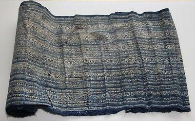 Tribal Chinese ethnic minority people's old  hand batik fabric textile Roll 6.1M