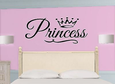 PRINCESS * Crown ~ Girl ~ WALL DECAL Quote * Vinyl Lettering STICKER ~ ANY COLOR