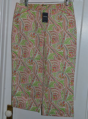 Izod womens pants capri capris size 14 cool design green pink blue stretch new