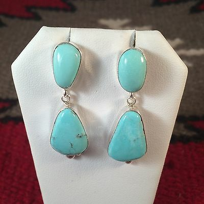 Navajo Sterling Silver & Sleeping Beauty Turquoise Signed By Gabby