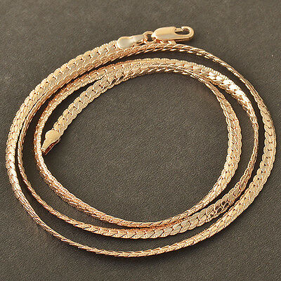CC Rose 9K Gold Filled Snake Men's Jewelry Chain Necklace,22 Inch,Z4054