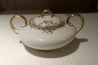 Limoges France Wm Guerin & Co White Floral Covered Sugar Dish With Gold Trim