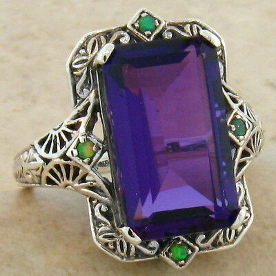 6 CT. LAB AMETHYST OPAL ANTIQUE VICTORIAN DESIGN .925 SILVER RING SIZE 9,  #301