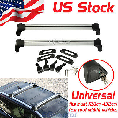 A Pair of Aluminum Car Top Luggage Cargo Roof Rack Cross Bar Carrier System