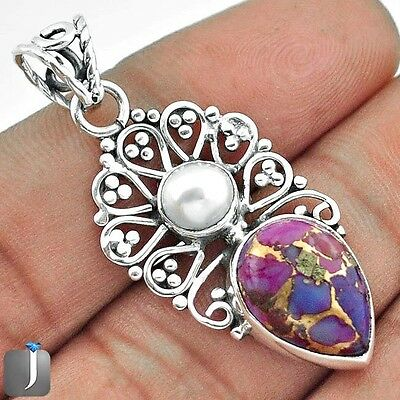 7.14cts PURPLE COPPER TURQUOISE 925 STERLING SILVER PENDANT JEWELRY E88984