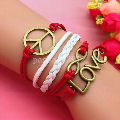 NEW DIY Fashion LOVE Peace mark Leather Cute Charm Bracelet plated Copper B199