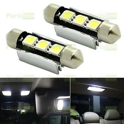 2 X Bright White LED Bulb 39~42mm Error Free 3SMD Dome Map Car Interior Light