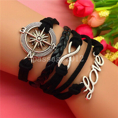 NEW DIY Fashion LOVE Compass Leather Cute Charm Bracelet plated Silver B176