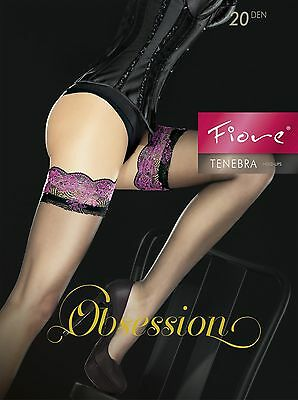 Fiore TENEBRA 20 Denier Stockings Thigh High Hold Up Nylons Lace Top FREE SHIP