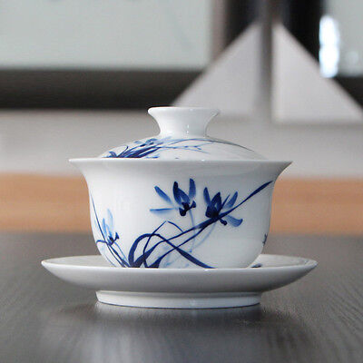 1pc Hand painted Orchid Chinese Blue and white porcelain tea cup gaiwan 140cc