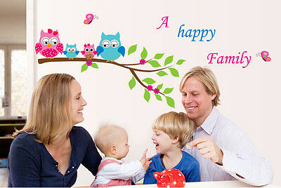 Happy Owls Family Removable Decal Mural Kids Room Home Decor Wall Sticker AY6013