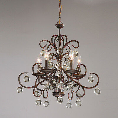 Wrought Iron Crystal Light Fixture Chandelier Dining Living Ceiling Pendant E204