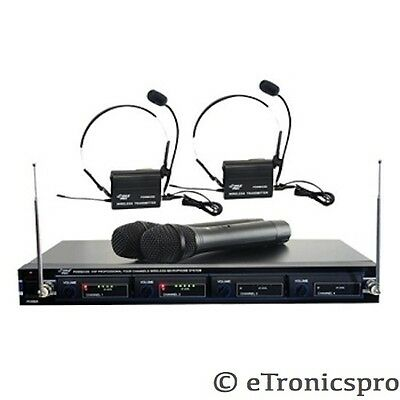 PYLE PRO PROFESSIONAL 4 MIC CORDLESS WIRELESS VHF DJ MICROPHONE SYSTEM NEW
