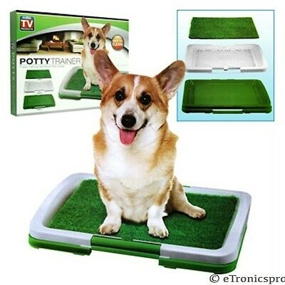DOG PUPPY POTTY TRAINER INDOOR TRAINING GRASS PATCH PAD TOILET MAT & TRAY SYSTEM