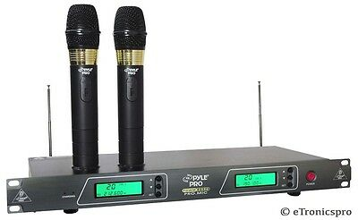 PYLE PRO 2 MICS VHF WIRELESS KARAOKE DJ DUAL RECHARGEABLE MICROPHONE SYSTEM