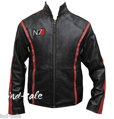 Custom Tailor Made All Sizes Genuine Leather Jacket Mass Effect 3 N7 Shepard NR