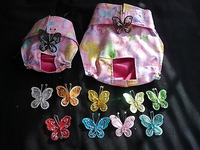 Pink Butterfly Exchangeable Bow Female Dog Diaper Panty Handmade NO TAIL HOLE