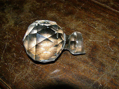 Antique Clear Faceted Glass Bottle or Decanter Stopper Large round crystal