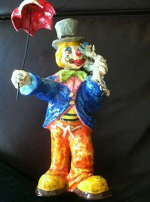 Vintage Made In Mexico Paper Mache Clown Figurine With Umbrella