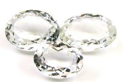 85.3Ct 3pc Lot Clear Natural White Crystal Quartz Oval Cut Gemstones