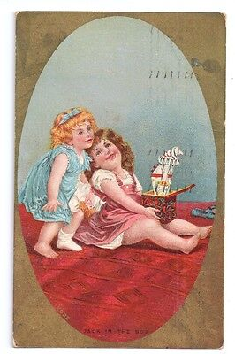 Children Girls Jack in the Box Toy  1910 Lithograph