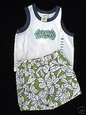 NWT *OLD NAVY* Boy's Hawiian Tank Top & Shorts Greens & Blues Outfit Set 3-6 mo