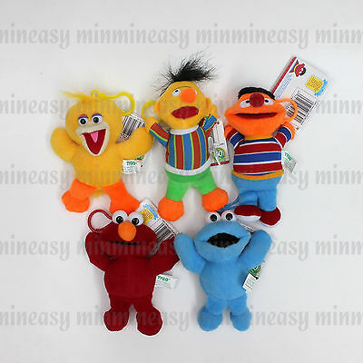 Sesame Street ELMO GROVER Cookie Monster Big Bird Plush Keychain Key Chain 5pcs