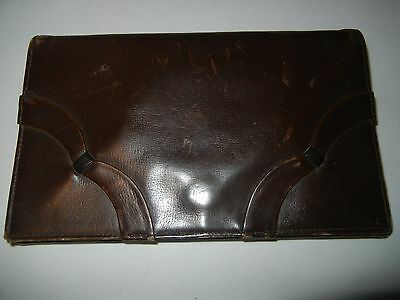 ANTIQUE BROWN LEATHER  ENVELOPE CLUTCH PURSE Back Handle Coin Purse Mirror insid