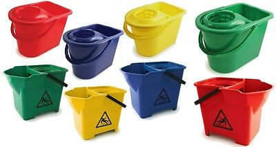 Colour Coded Plastic Mop Bucket Hygienic Cleaning Mop Wringer Wet Floor Cleaner